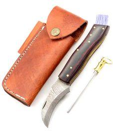Exkluzívny hubársky nôž damaškový micarta bicolor black ručne robený