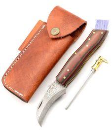 Exkluzívny hubársky nôž damaškový micarta bicolor red ručne robený.