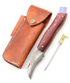 Exkluzívny hubársky nôž damaškový micarta red ručne robený.