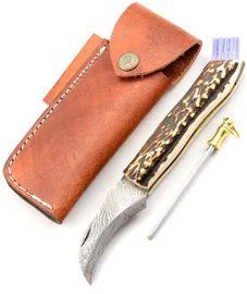 Exkluzívny hubársky nôž damaškový s jelením parohom ručne robený