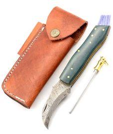 Exkluzívny hubársky nôž damaškový s micarta green ručne robený.