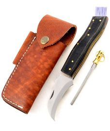 Exkluzívny hubársky nôž micarta black ručne robený.