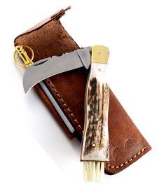 Exkluzívny hubársky nôž s jelením parohom ručne robený