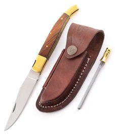 Set - nôž Laguiole drevo, kožené puzdro a ocieľka