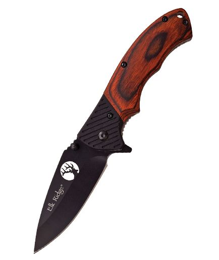 Elk Ridge Linerlock Brown Wood ER566BPW
