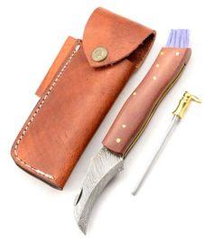 Exkluzívny hubársky nôž damaškový micarta brown ručne robený.