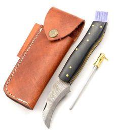 Exkluzívny hubársky nôž damaškový s micarta black ručne robený.