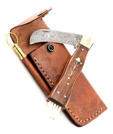 Exkluzívny hubársky nôž damaškový ručne robený so záštitou