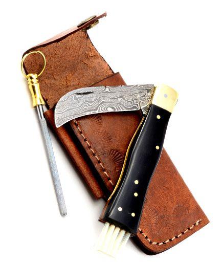 Exkluzívny hubársky nôž damaškový s byvolím rohom ručne robený so záštitou