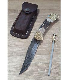 Set Damascus Stag Engraved Bolster kožené puzdro a ocieľka